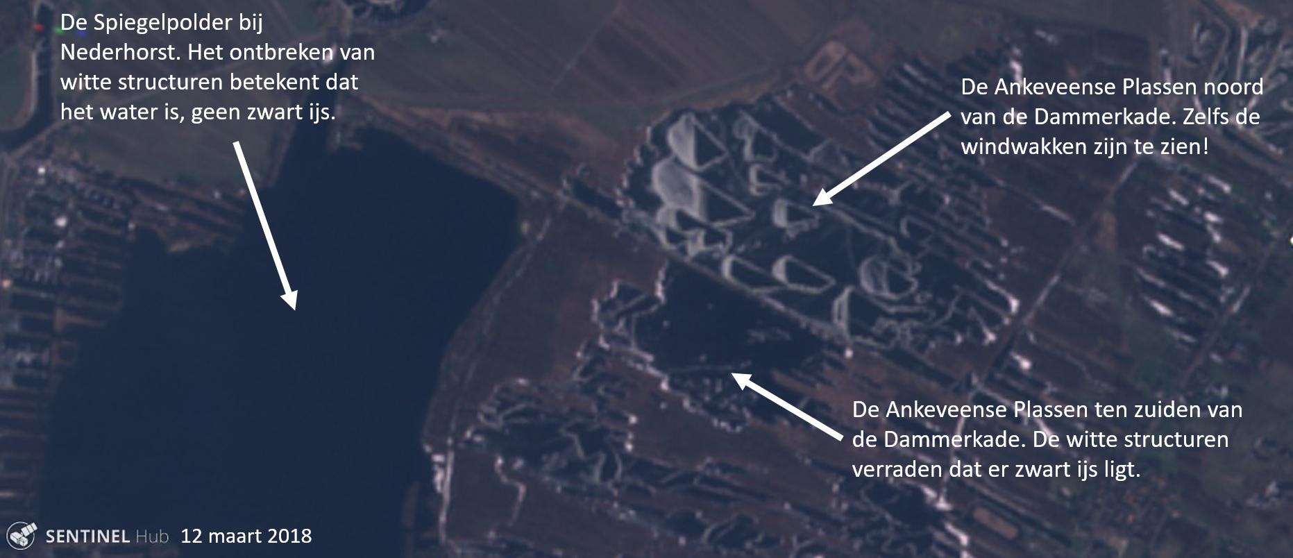 61ce42cfb57 Op de foto is het gebied tussen Nederhorst den Berg en Ankeveen in 't Gooi  op 2 maart 2018 te zien, gefotografeerd door de Sentinel-satelliet die  zichtbaar ...